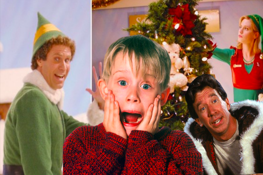From left to right: Elf (2003), Home Alone (1990) and The Santa Clause (2006)