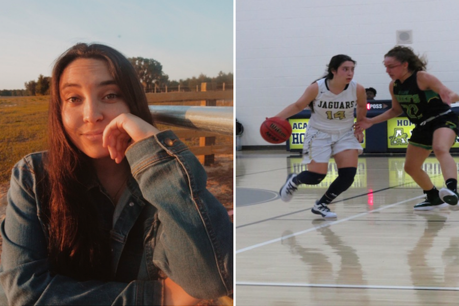 Angie Peña (21) playing Point Guard on AHN's basketball team.
