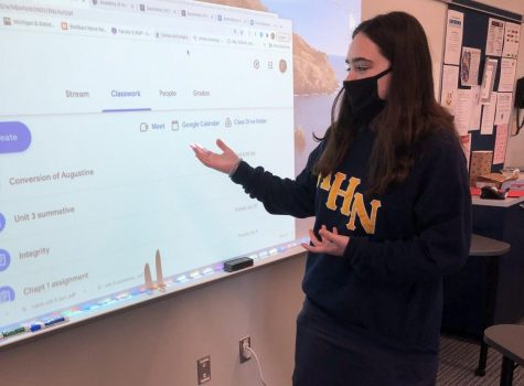 Anna Anderson has to practice several times for an in-class presentation.