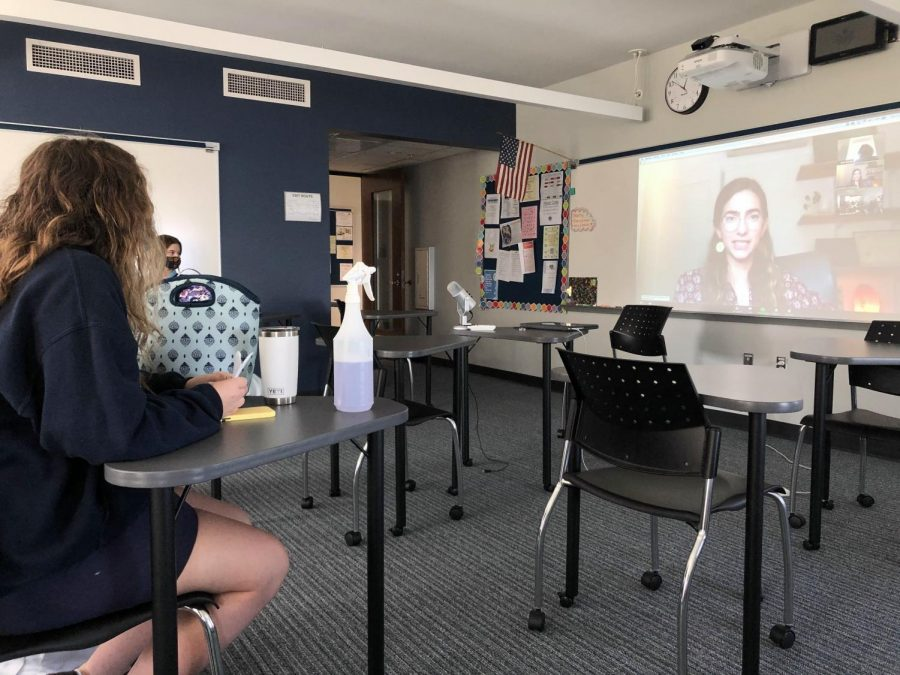 Julia Lombardi ('23) listens to a career day presenter give a presentation on Google Meet.