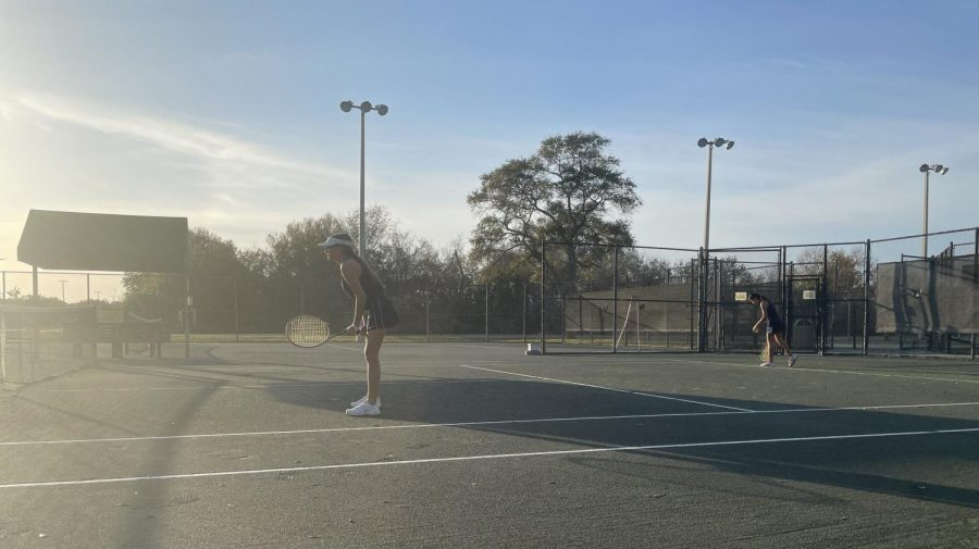Pictured above are Duarte and Caudell during their doubles match.