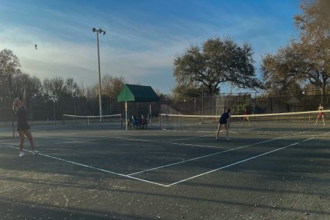 The tennis team played their home match at the Hillsborough Community College tennis courts because, although there are two courts at the Academy, they are not enough to accommodate all the players.