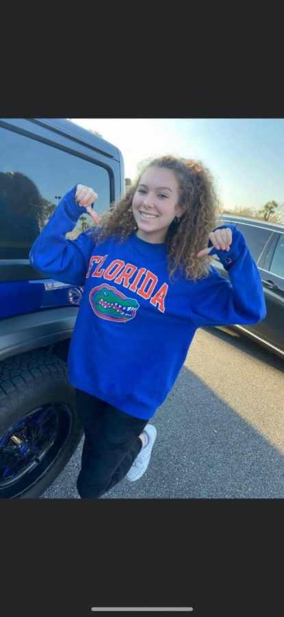 """Isabella Ferrie ('21) said, """"I am going to University of Florida because I absolutely loved the campus when I toured. Game days have always been so much fun and I've always wanted to be a gator since my first time going to a game. When I toured the campus, I felt at home and I am so excited to join Gator Nation."""""""