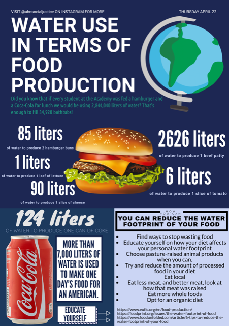 This was an infographic created by Olivia Lucas ('23) in the Social Justice club that highlights food production