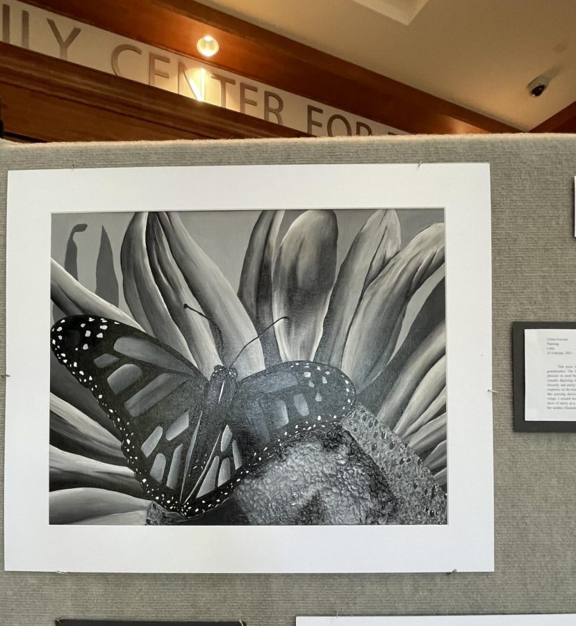 All of the art featured were accompanied by an artist statement explaining the meaning of the piece. Crista Guevara ('23) said,