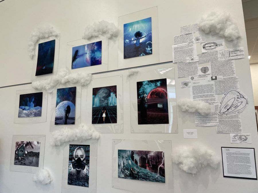 Other AP students, such as Emmie Valdez ('21), included elements beyond their artwork to create their display.