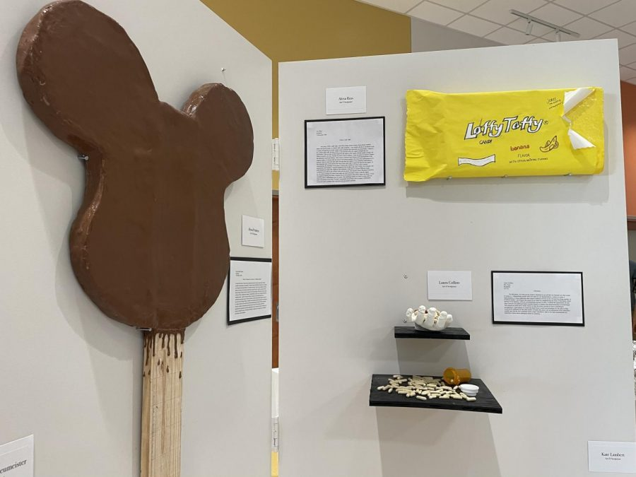 The art ranged from serious to quirky, such as the giant sized sculptures of food made by the Art II Sculpture class.
