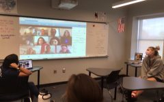 Both virtual and in-person students watched as Jeanine Ramirez ('16) gave a presentation about advocacy writing.