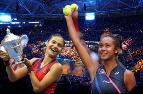 Emma Raducanu and Leyla Fernandez in front of Arthur Ashe Stadium.