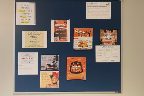Flyers are posted on billboards around the school to give students information about upcoming events.