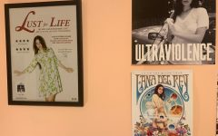 A variety of Lana Del Reys albums, posters and fan art on Abby Neals wall.