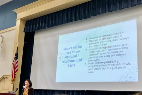 Principal Sister Lisa Perkowski explains the updated mask policy to the students in Monday convocation.